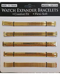 Watch Straps 11-14mm Expander 6 pack EX1114 Gold Colour