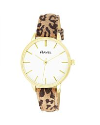Ravel Women's Gold Dial Leather Strap Watch RF008.2