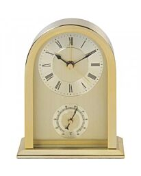 Widdop Gold mantel carriage clock with Thermometer guage W2844