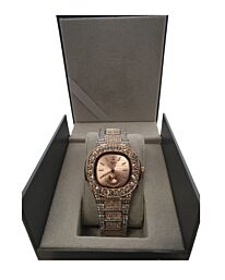 PI-7644 NY LONDON GENTS BLING WATCH SILVER-ROSE-ROSE