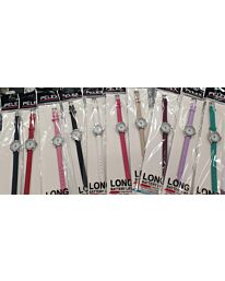 PELEX Ladies Leather Wrist Watches Pack of 10 Assorted Colours PLX-024