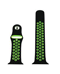 AP109 - Black/Green sports Silicone Strap To Fit Apple Smart Watch Available sizes 38mm - 42mm