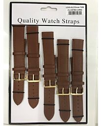 1555.02 2X EXTRA LONG BROWN LEATHER WATCH STRAPS PK5 AVAILABLE SIZES 18MM - 22MM
