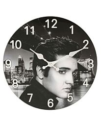 Hometime 30cm Glass Wall Clock Elvis Presley Design W9716