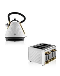 Swan Gatsby Kettle Toaster Set White & Gold